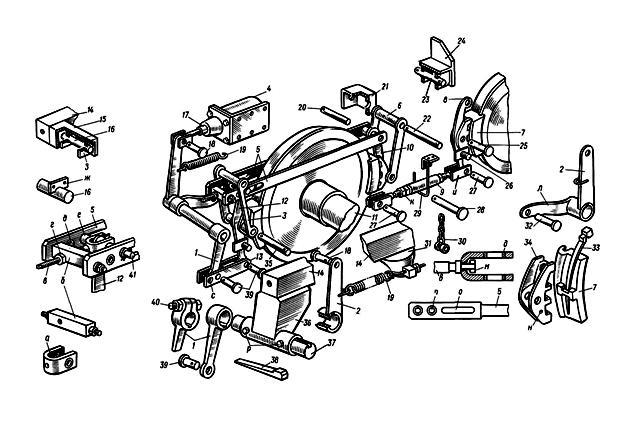 Рисунок 2 - Узлы тормозной рычажной передачи тепловоза ЧМЭ3.  Рычажная передача, смонтированная на раме тележки...